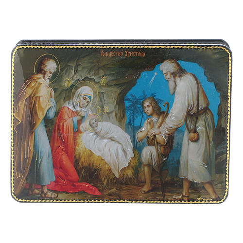 Russian box in papier-mâché the Birth of Christ Fedoskino style 15x11 cm 1