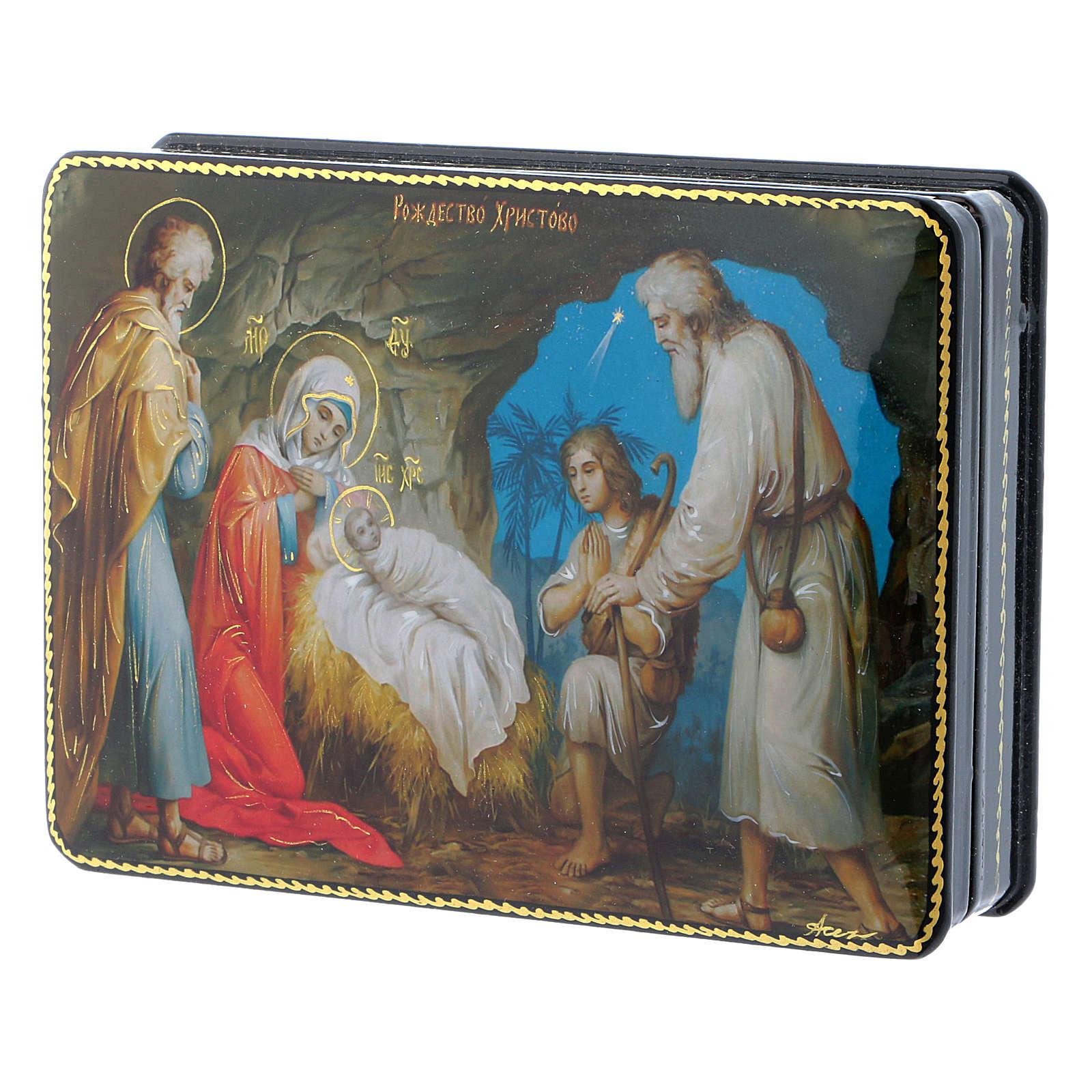 Scatola russa cartapesta Gesù, la nascita Fedoskino style 15x11 4