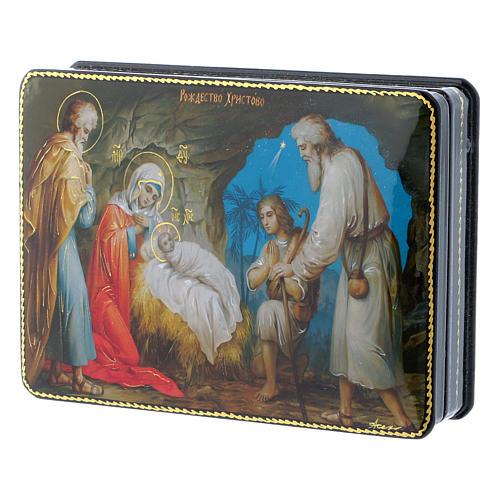 Scatola russa cartapesta Gesù, la nascita Fedoskino style 15x11 2