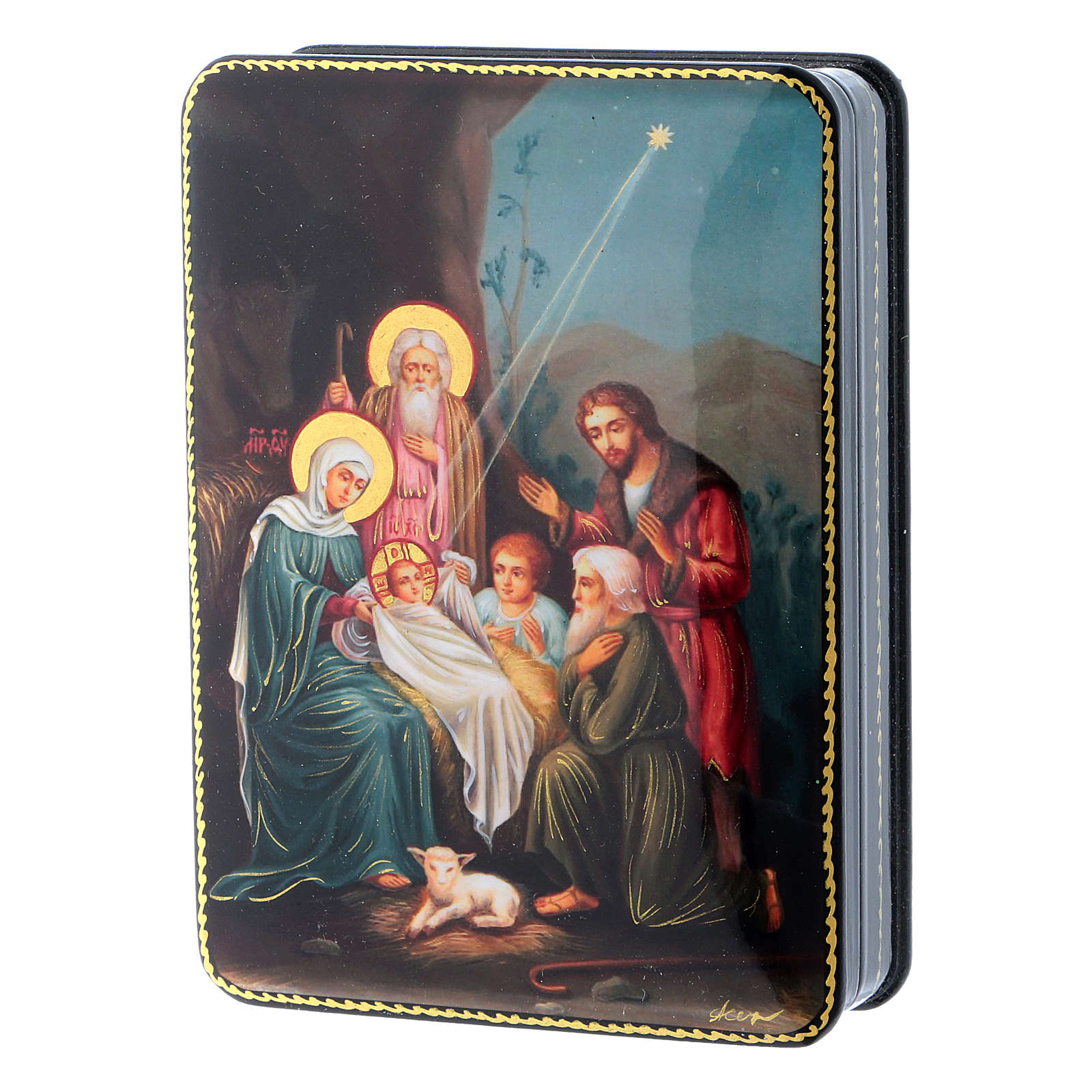 Russian box in papier-mâché and lacquer the Birth of Christ Fedoskino style 15x11 cm 4