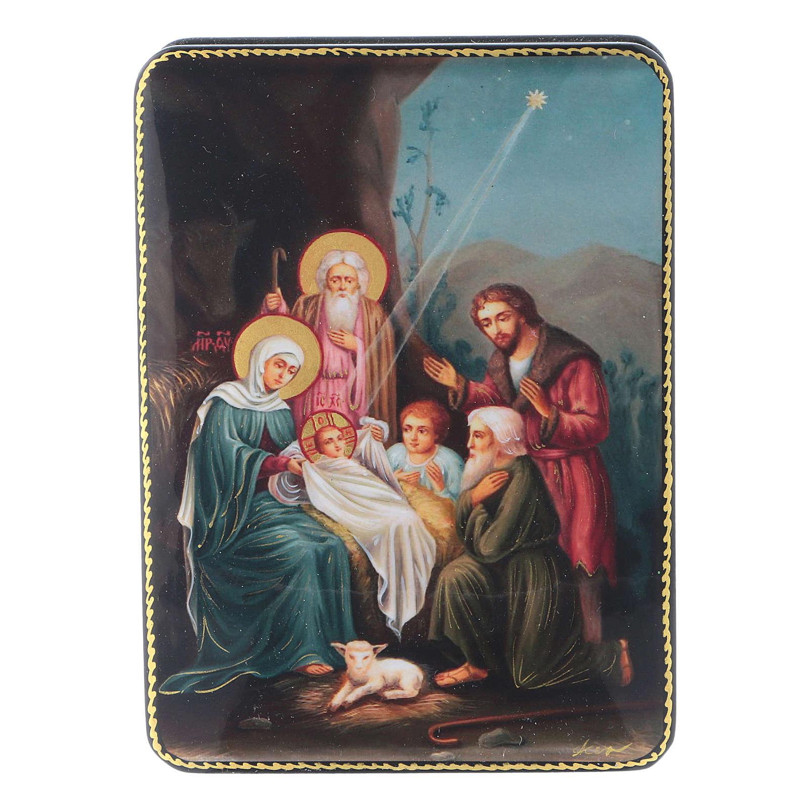 Lacca russa Papier-mâché Cristo, la nascita Fedoskino style 15x11 4