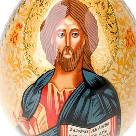 Uovo icona dipinta a mano Cristo Pantocratore s4