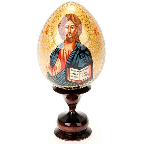 Uovo icona dipinta a mano Cristo Pantocratore 1