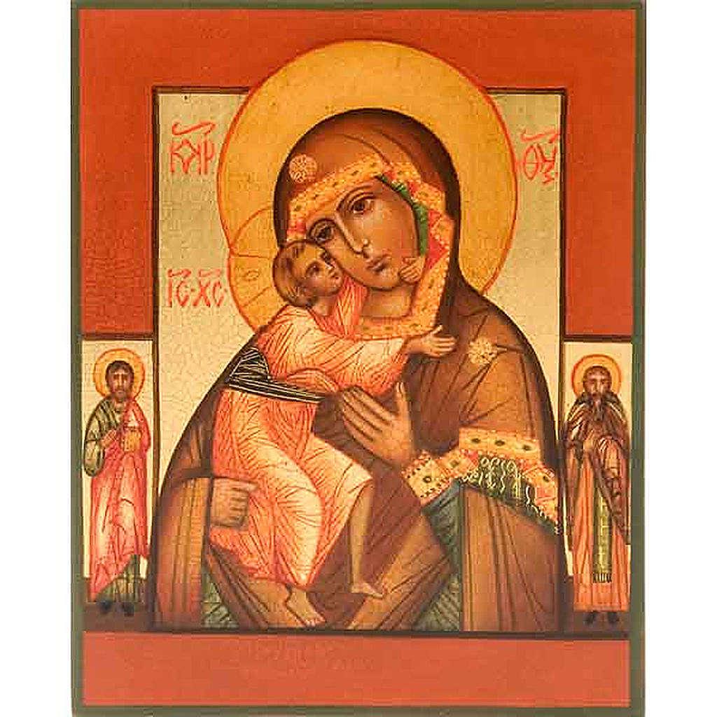 Icône russe Vierge FIodor avec deux saints 4