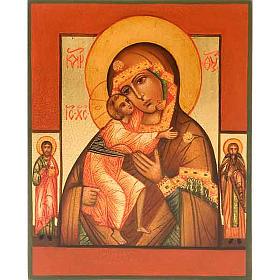 Icône russe Vierge FIodor avec deux saints s1