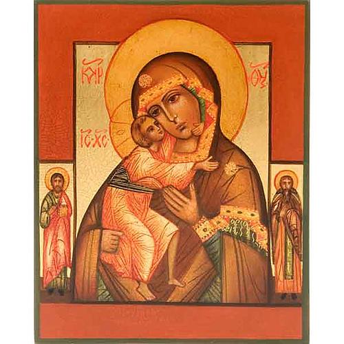 Icône russe Vierge FIodor avec deux saints 1