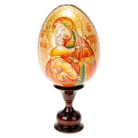Uovo icona Vergine di Vladimir manto rosso s1