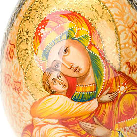 Uovo icona Vergine di Vladimir manto rosso s4