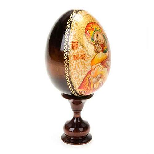Uovo icona Vergine di Vladimir manto rosso 3