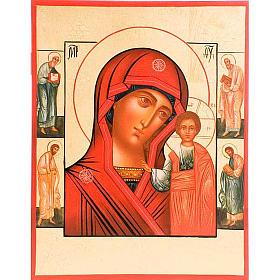 Icona Madre di Dio di Kazan manto rosso e santi s1