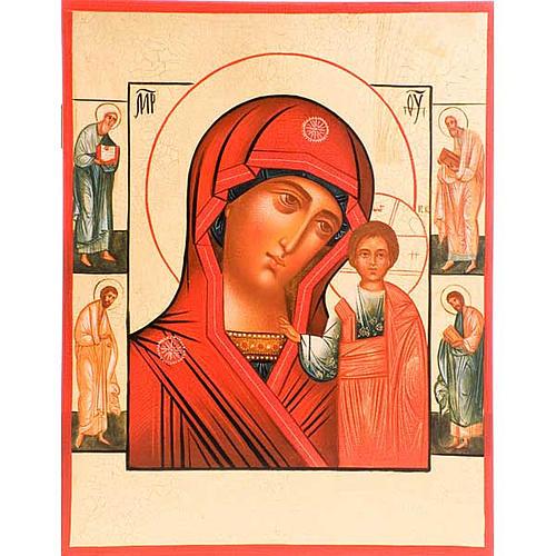 Icona Madre di Dio di Kazan manto rosso e santi 1