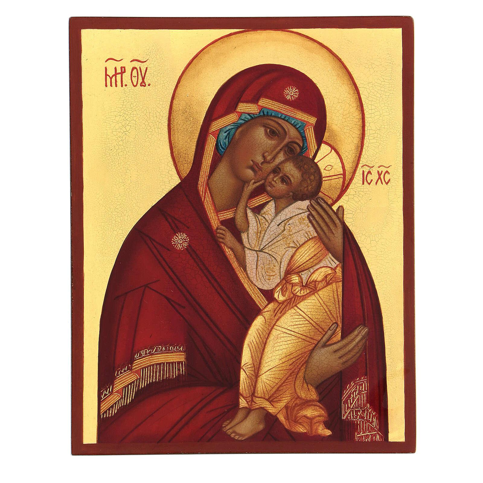 Icona Madre di Dio Jaroslav 14x10 cm Russia dipinta 4