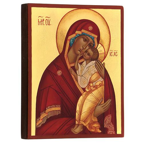 Icona Madre di Dio Jaroslav 14x10 cm Russia dipinta 3