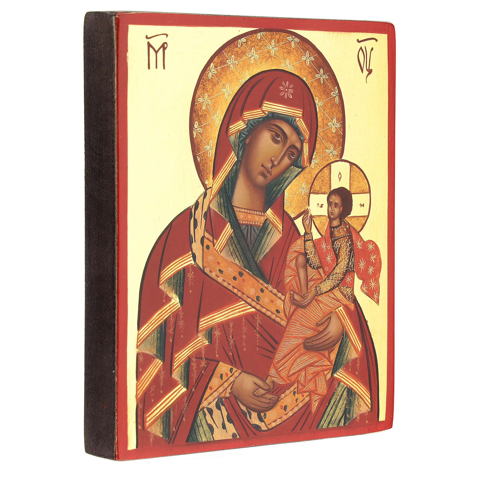 Icona Madre di Dio di Suaja manto rosso 14x10 cm 4