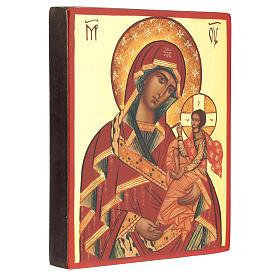 Icona Madre di Dio di Suaja manto rosso 14x10 cm s3