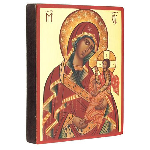 Icona Madre di Dio di Suaja manto rosso 14x10 cm 3