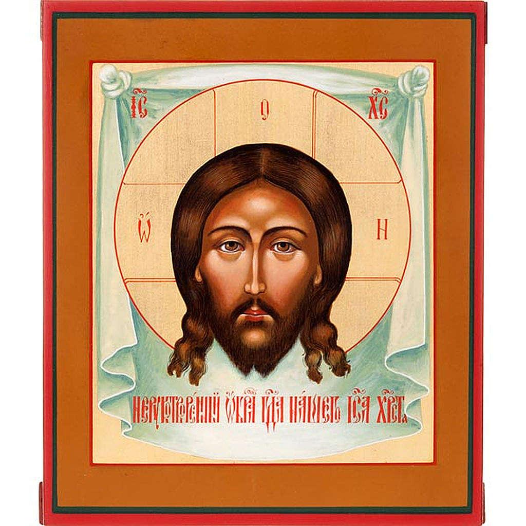 Icona Cristo Mandylion con decoro 4
