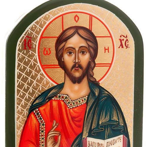 Icona russa Pantocratore 6x9 cm manto blu oro 4