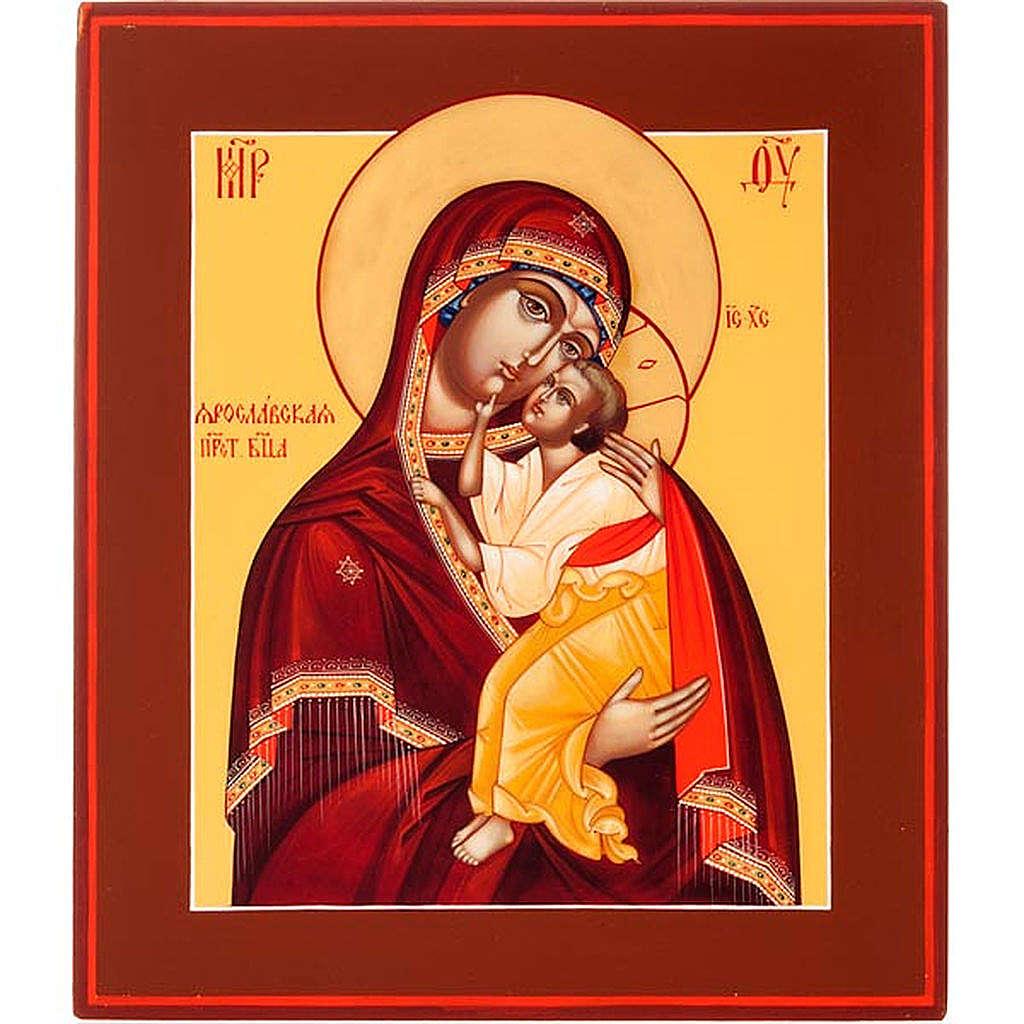 Icona russa Vergine di Yaroslavl 22x27 cm 4
