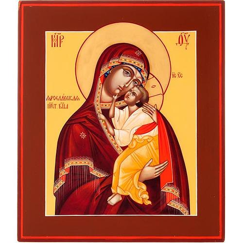 Icona russa Vergine di Yaroslavl 22x27 cm 1