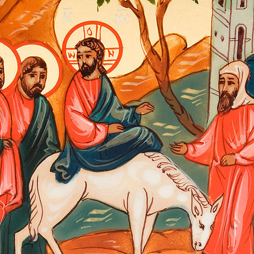 Icona sacra entrata Gesù Gerusalemme 6x9 Russia 3
