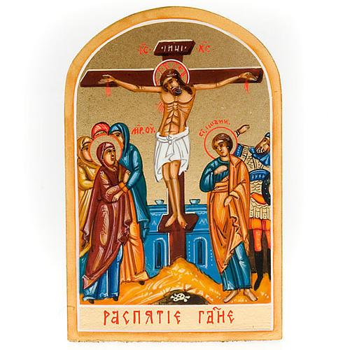 Icona sacra Crocifissione 6x9 Russia 1