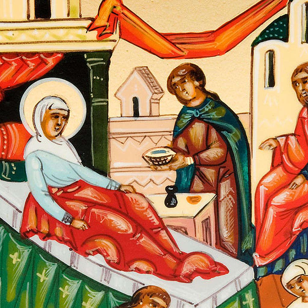Icona russa Natività di Maria 6x9 dipinta a mano 4