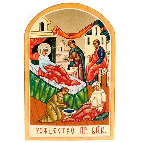 Icona russa Natività di Maria 6x9 dipinta a mano 1