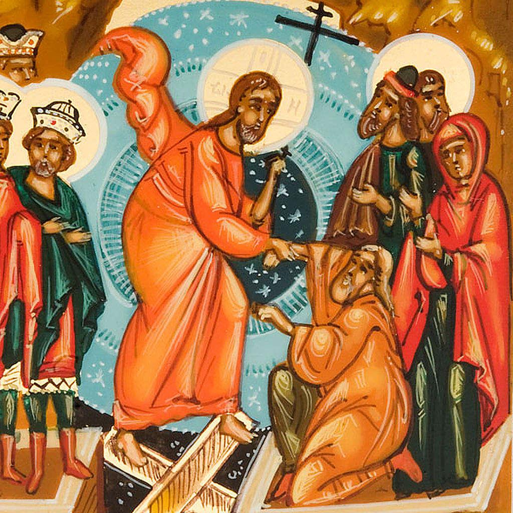 Icona russa Discesa agli inferi 6x9 dipinta a mano 4