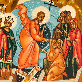 Icona russa Discesa agli inferi 6x9 dipinta a mano s3