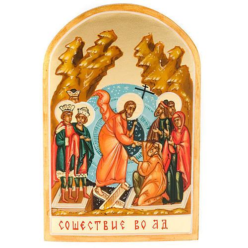 Icona russa Discesa agli inferi 6x9 dipinta a mano 1
