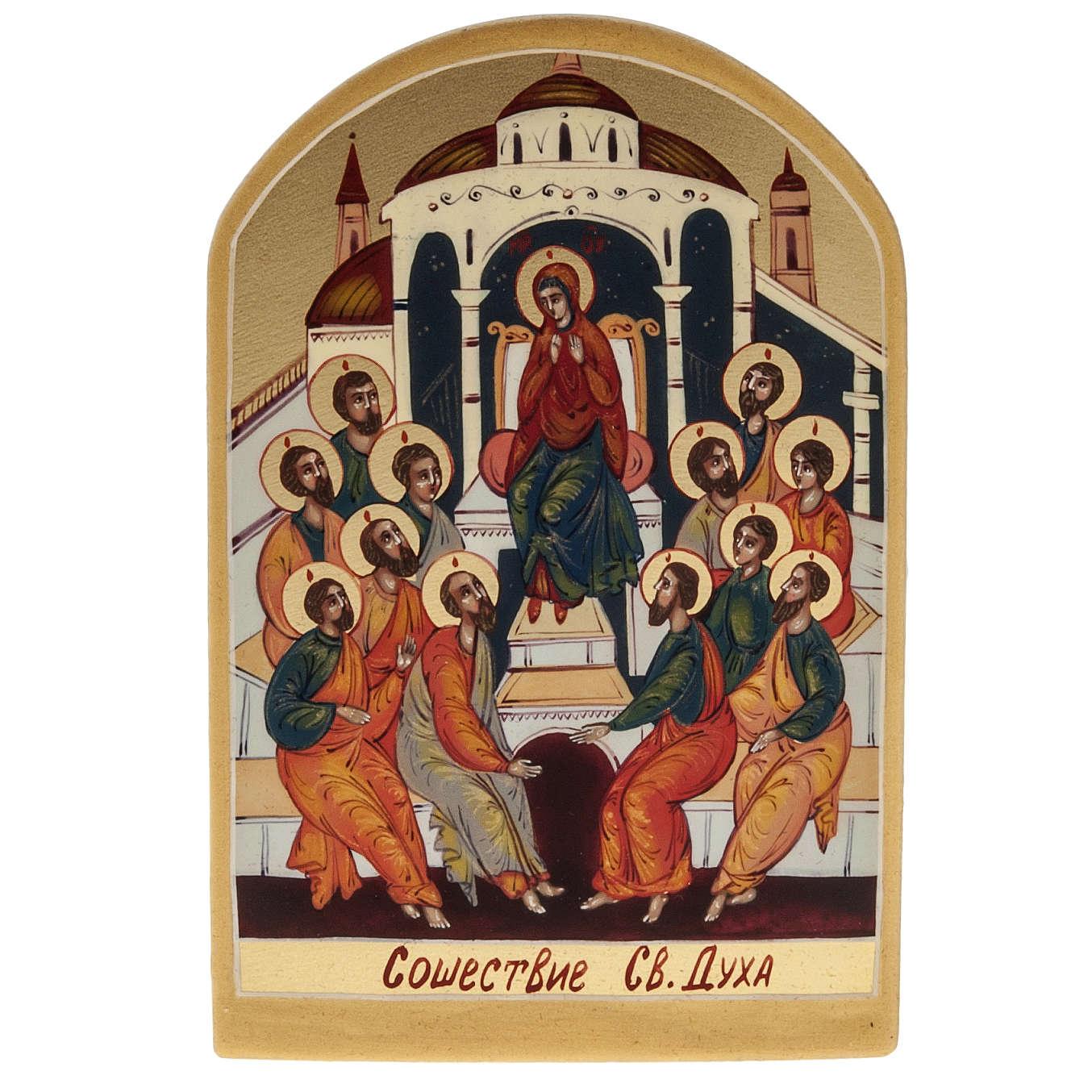 Icona sacra Pentecoste 6x9 dipinta a mano Russia 4
