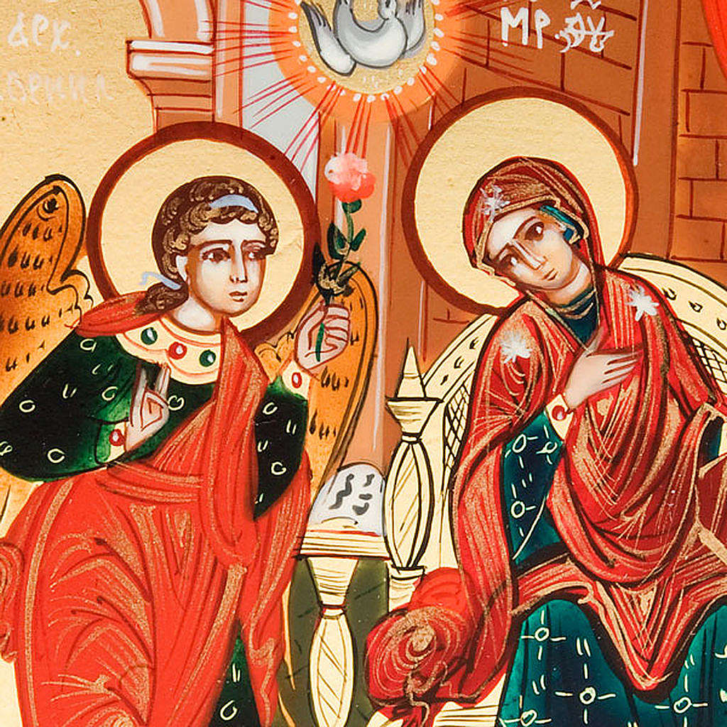 Icona sacra Annunciazione 6x9 Russia dipinta  a mano 4