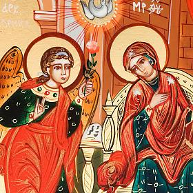 Icona sacra Annunciazione 6x9 Russia dipinta  a mano s3