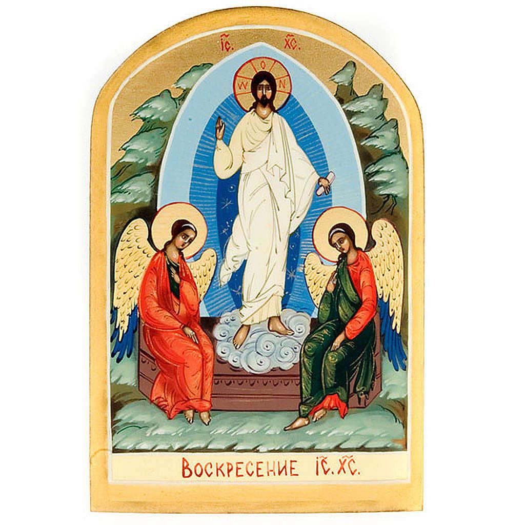 Icona russa Resurrezione di Gesù 6x9 dipinta a mano 4