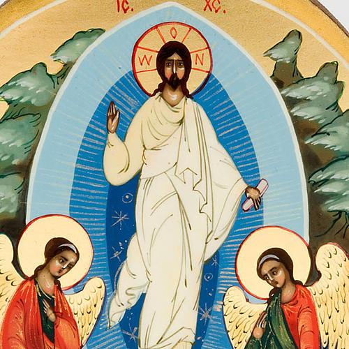 Icona russa Resurrezione di Gesù 6x9 dipinta a mano 3