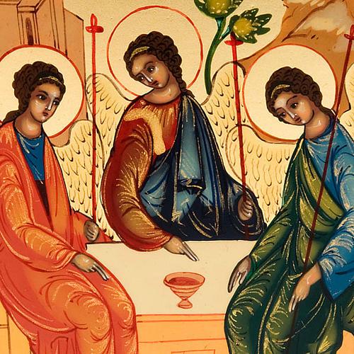 Russian icon, Holy Trinity, Rublev 6x9cm 3