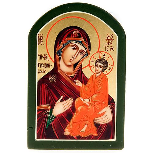 Icona sacra Odighitria manto rosso 6x9 Russia 1