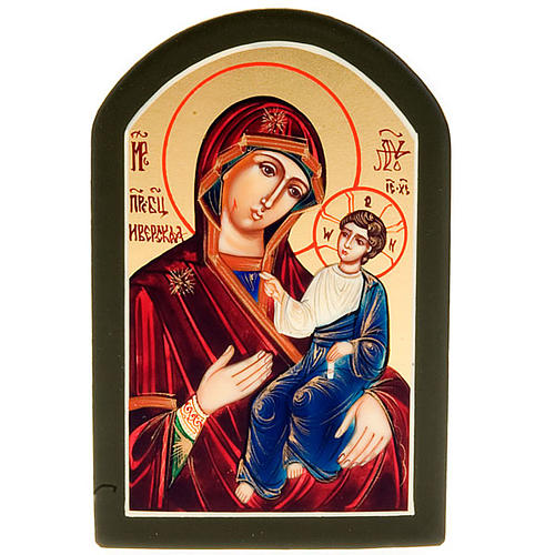 Icona sacra Odighitria manto blu 6x9 Russia 1
