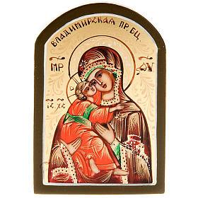 Icona Vergine di Vladimir Russia 6x9 dipinta a mano s1