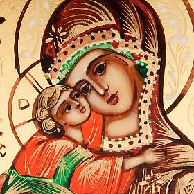 Icona Vergine di Vladimir Russia 6x9 dipinta a mano s3