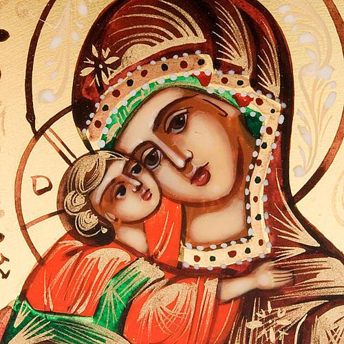 Icona Vergine di Vladimir Russia 6x9 dipinta a mano 3