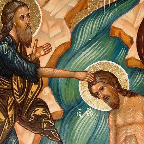 Icona Battesimo di Gesù dipinta a mano Russia 22x27 4