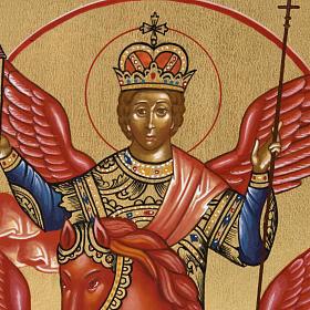 Icône peinte Saint Michel à cheval Russie s2