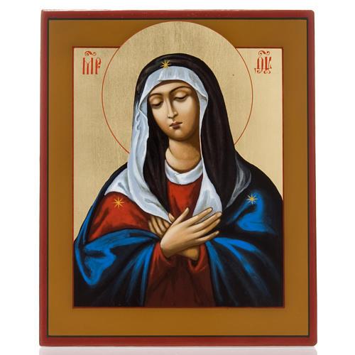 Ícono pintado ruso Virgen Ternura Umilenie 1
