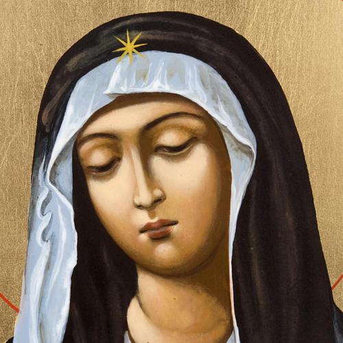 Ícono pintado ruso Virgen Ternura Umilenie 2