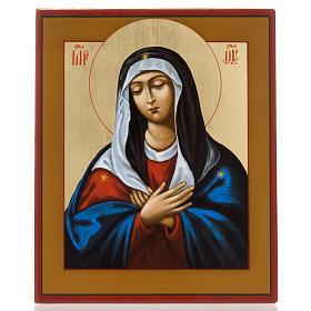 Icona dipinta russa Vergine Tenerezza Umilenie s1