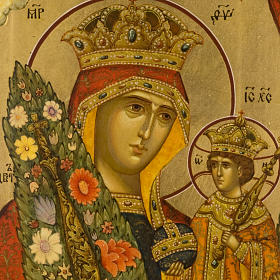 Icona russa Fiore Immarcescibile dipinta a mano s3