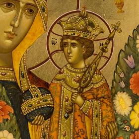 Icona russa Fiore Immarcescibile dipinta a mano s5