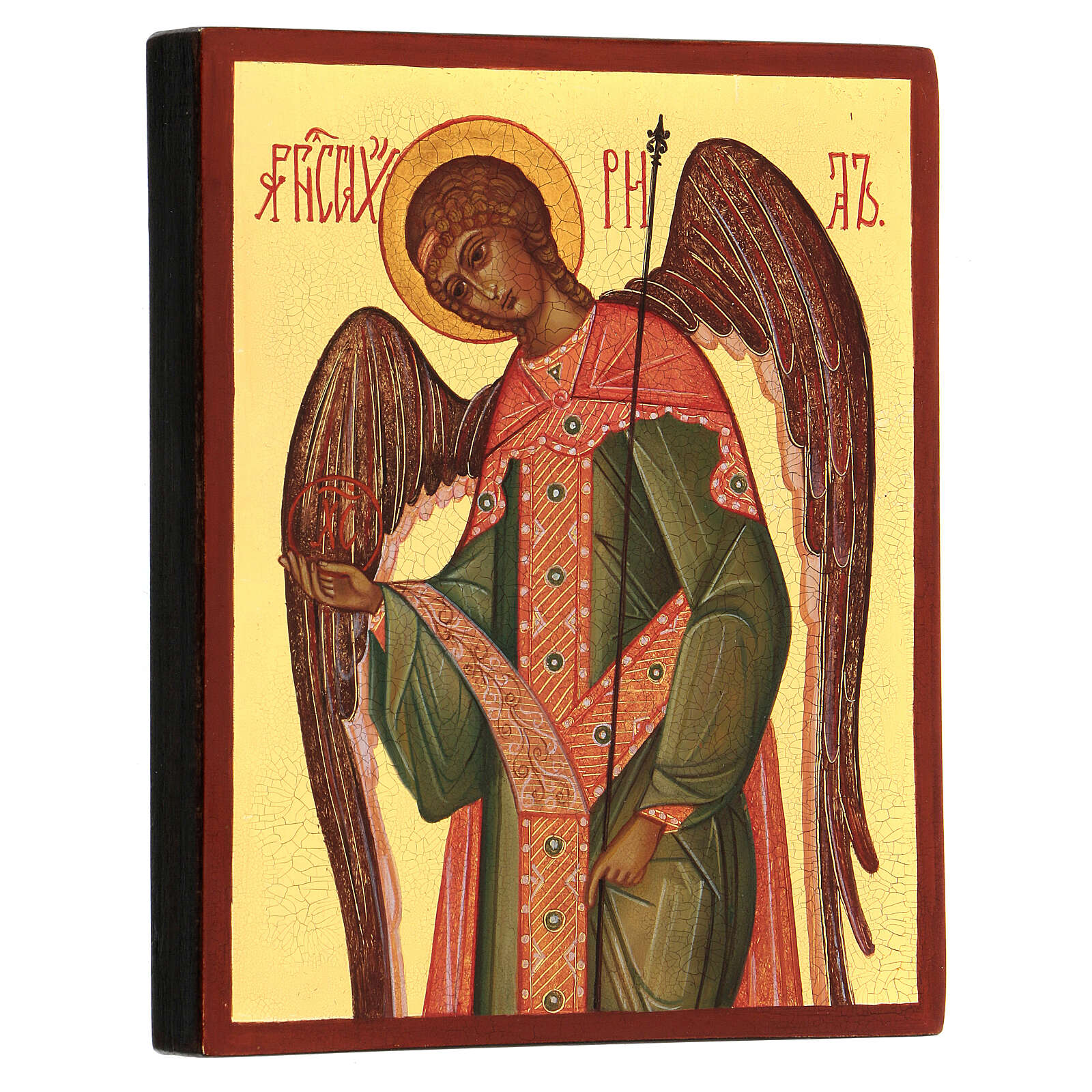 Ícono rusa pintada Arcángel Gabriel 14x10 cm 4